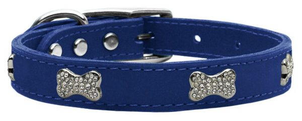 pet supplies Crystal Bone Genuine Leather Dog Collar Blue