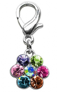 charms- Lobster Claw Flower Charm Multi Color